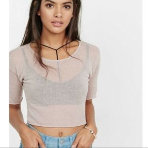 Express One Eleven Thin Knit Crop Tee